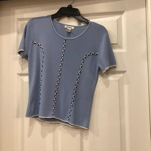 Carducci blouse light blue with black white accent